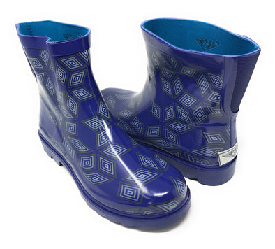 Women's Diamond Print Rubber Rain Boots