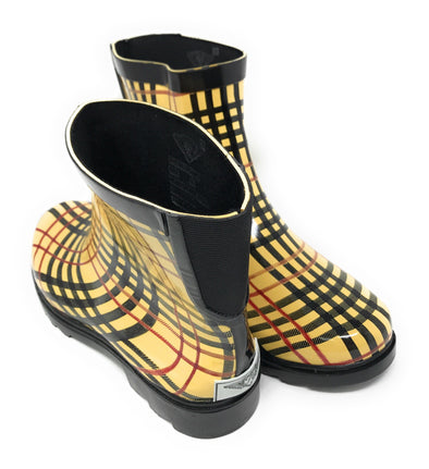 Women's Plaid Print Rubber Rain Boots