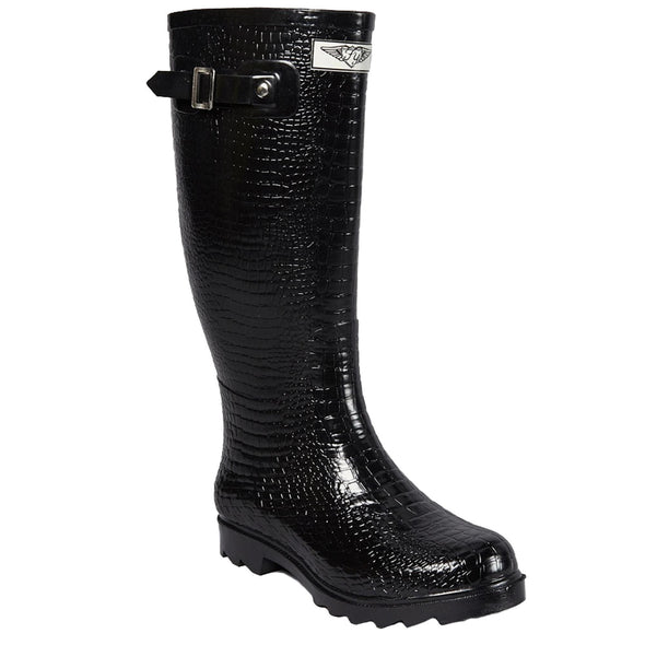 Women's Faux Croc Tall Rubber Rain Boots
