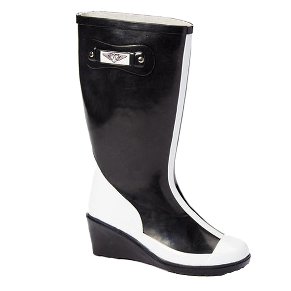 Women's Mod Black and White Tall Rubber Rain Boots