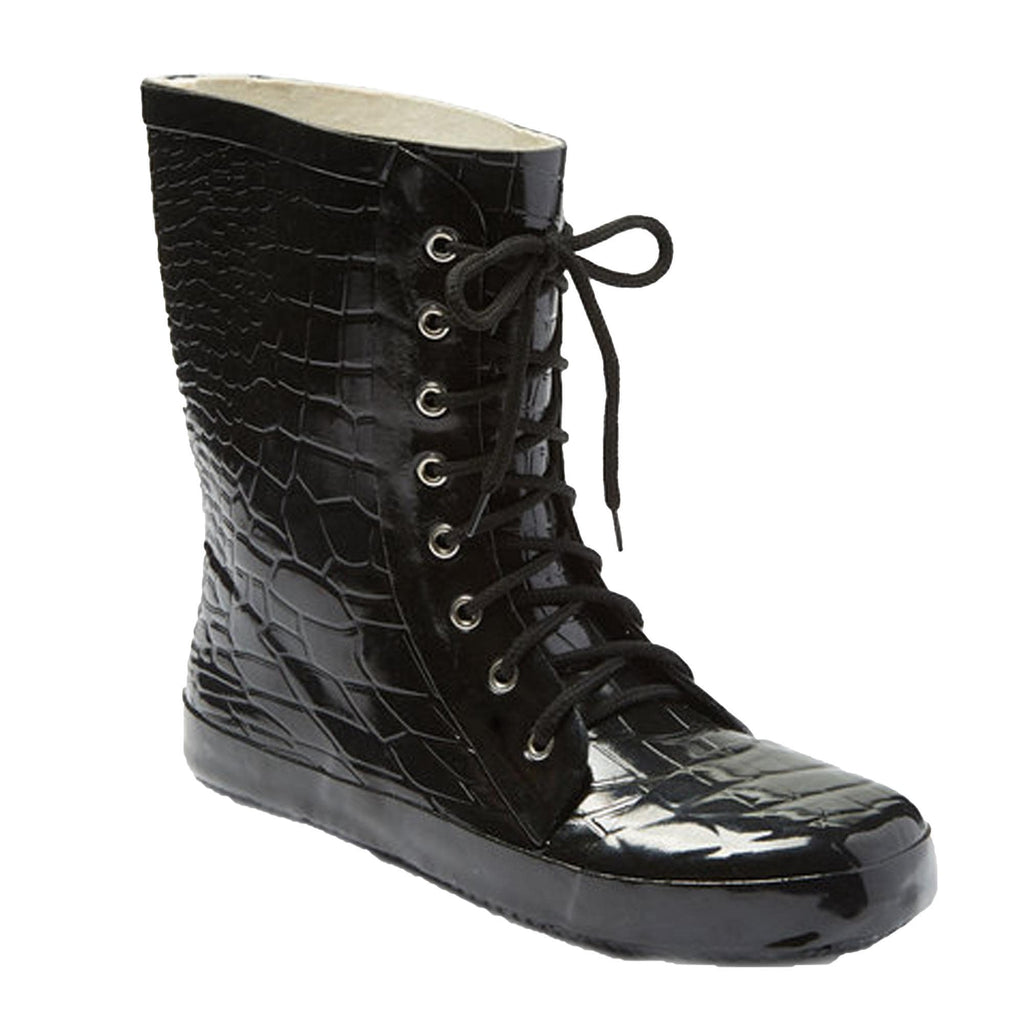 5f5907ef983 Forever Young Women's Croc Print Lace Up Rubber Rain Boots