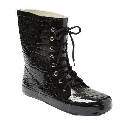 Women's Croc Print Lace Up Rubber Rain Boots