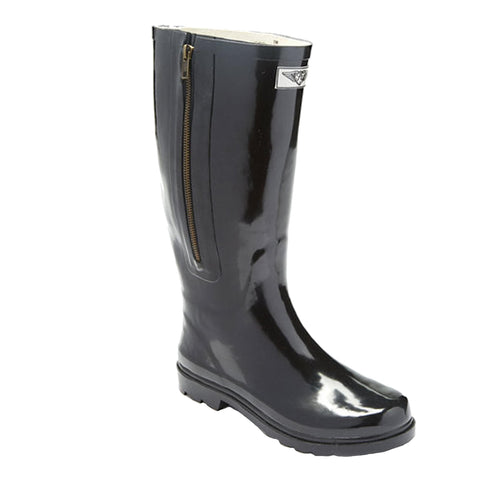 Women's Solid Rubber Rain Boots with Side Zipper