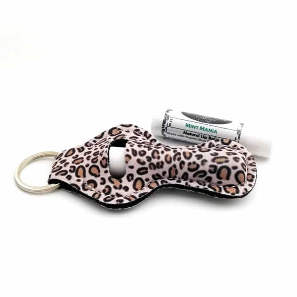 Leopard Lip Balm Holder Key Fob