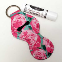 Rose Watercolor Lip Balm Holder Key Ring Dallas Soap Company