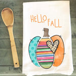 Hello Fall Pumpkin Leopard Serape Tea Towel