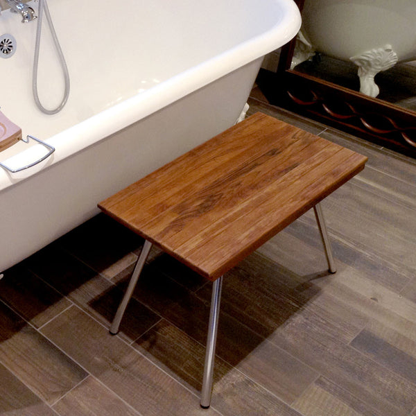 Teak Shower Benches with Folding Legs
