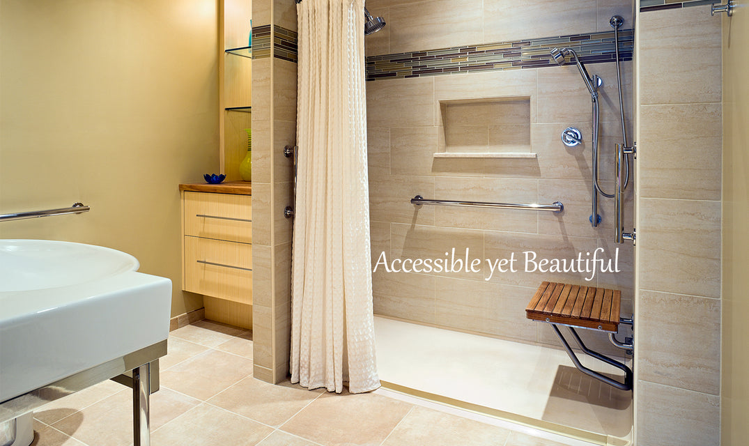 Beautiful teak ADA bench mounted in accessible designed shower