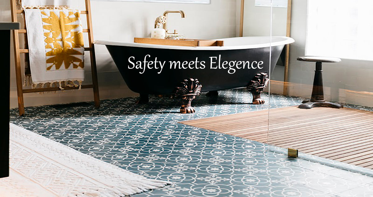 Elegant Bathtub next to inset teak mat