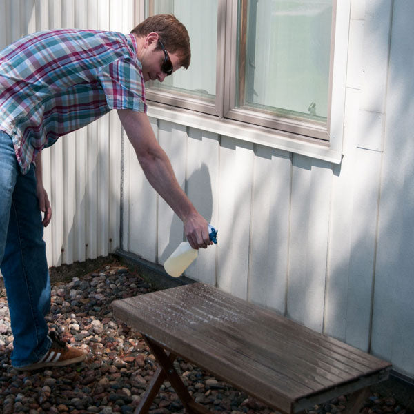 Step 1: Spray the teak surface liberally with Teak Cleaning Solution