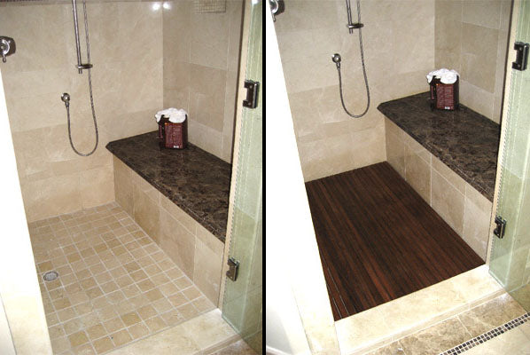 Before & After in a tiled shower