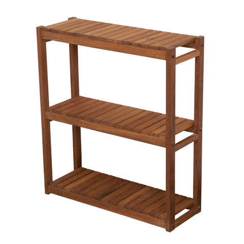 "24""L x 27""H x 8"" D - 3 Tier Teak Shelf"