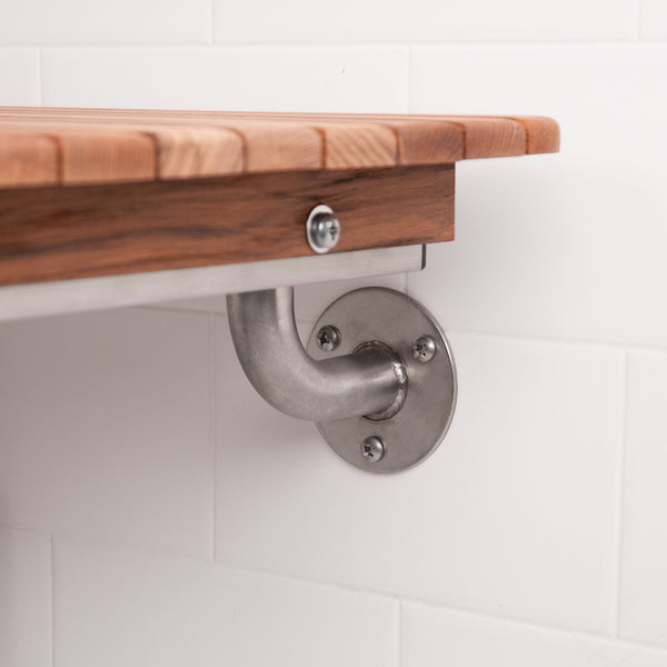 "30"" Wide Teak ADA Wall Mount Shower Bench Seat"