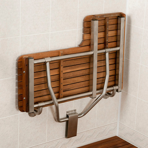 "34"" Wide Teak ADA Left-Hand L-Shaped Shower Bench Seat"