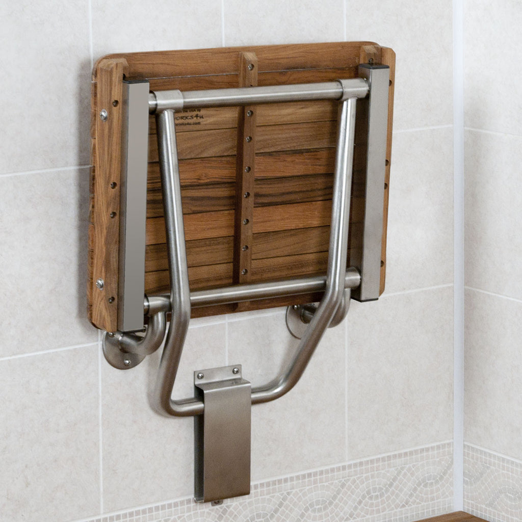 Teak ADA Shower Bench Seat Folds Up When Not Needed. Easy to fold down.