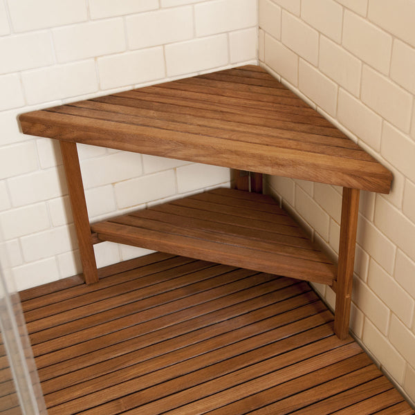 "30"" x 22"" Deluxe Teak Corner Shower Bench"