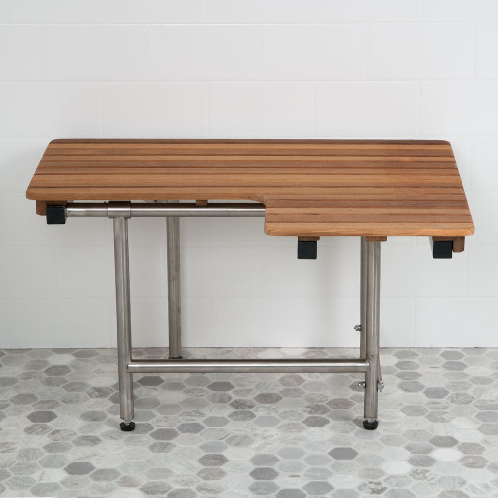 "30"" Teak Left-Hand ADA Shower Bench with Drop Down Legs"