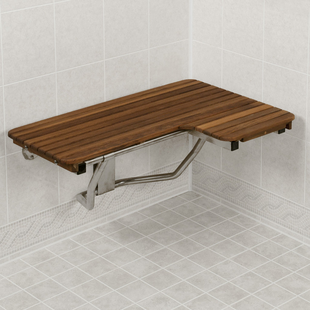 "32"" Wide Left-Hand Teak Shower Bench Seat, ADA Compliant"