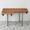 Teak Right-Hand ADA Shower Bench Seat with Drop Down Legs