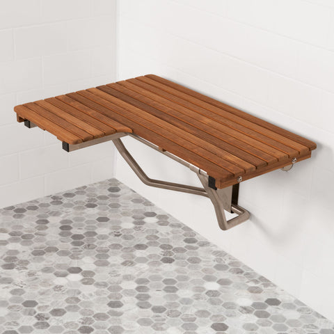 "32"" Right-Hand ADA Compliant Teak Shower Bench Seat"