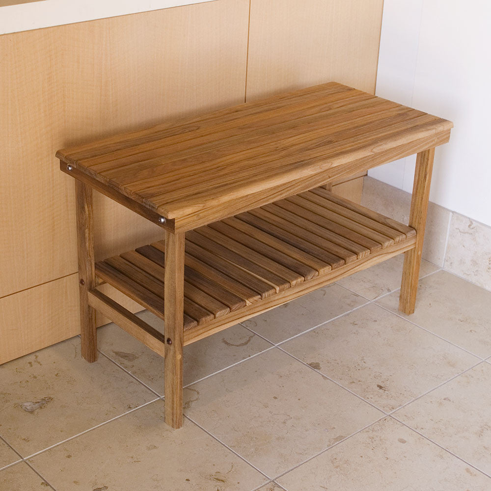 25x14 Rigid Teak Shower Bench by Teakworks4u