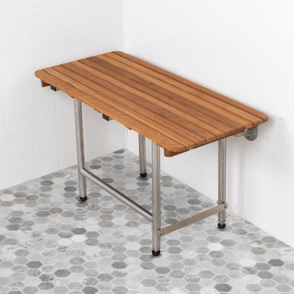"26"" Wide Teak ADA Shower Bench Seat with Drop Down Legs"