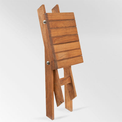 Scissor Leg Teak Shower Bench folds flat for storage