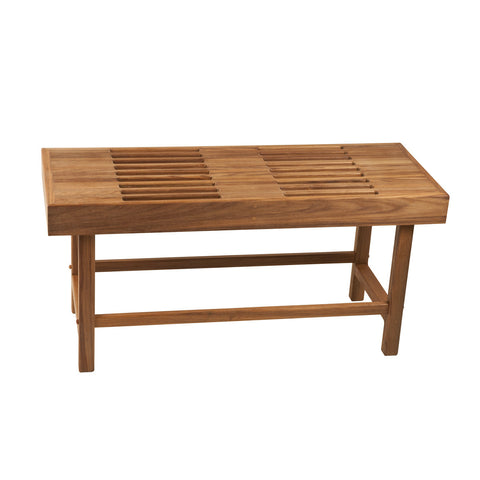 "37-1/2"" x 14"" Teak Rigid Leg Bench with Slots"