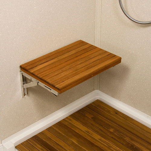 "17"" Plantation Teak Wall Mount Shower Bench from Teakworks4u"