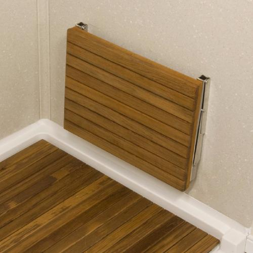 Wall Mounted Teak Shower Bench Seat folds flat against the wall when not in use