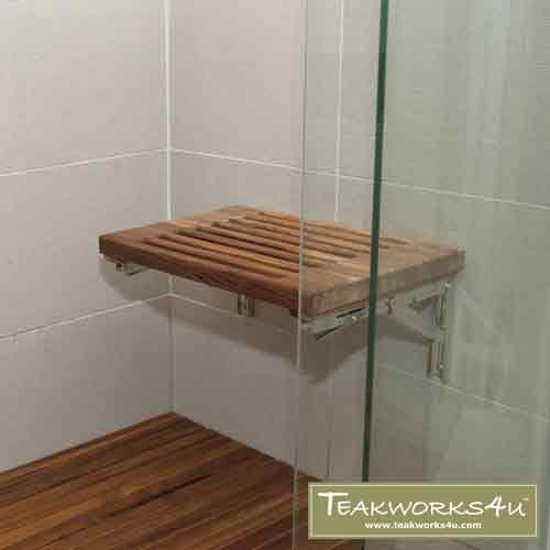 "Teakworks4u 18"" Teak Wall Mount Fold Down Shower Bench with Slots in The Shower"