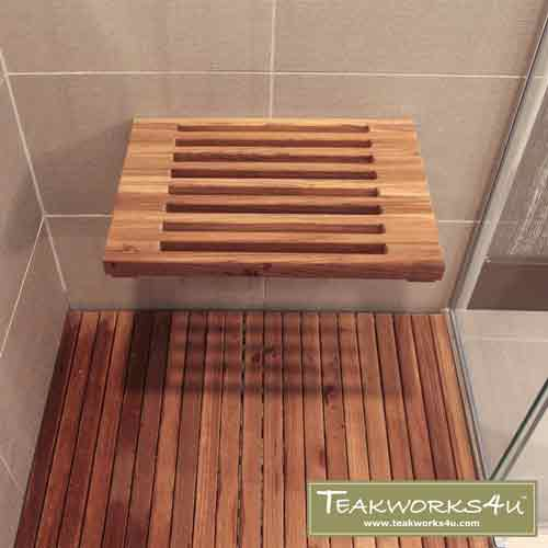"Teakworks4u 18"" Teak Wall Mount Fold Down Bench with Slots Paired With A Teak Mat"