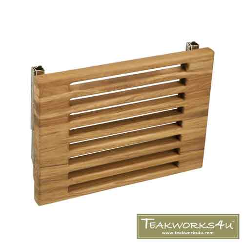 "Teakworks4u 18"" Teak Wall Mount Fold Down Shower Bench with Slots in Down Position"