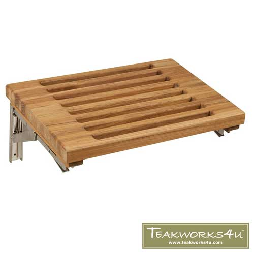 "Teakworks4u 18"" Teak Wall Mount Fold Down Shower Bench with Slots"