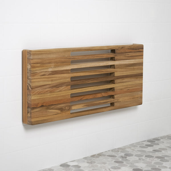 "24"" Wall Mount Fold Down Teak Shower Bench with Slot Openings"