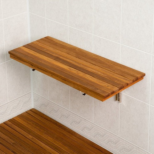 "30"" Wide Teak Wall Mount Fold Down Teak Shower Seat"