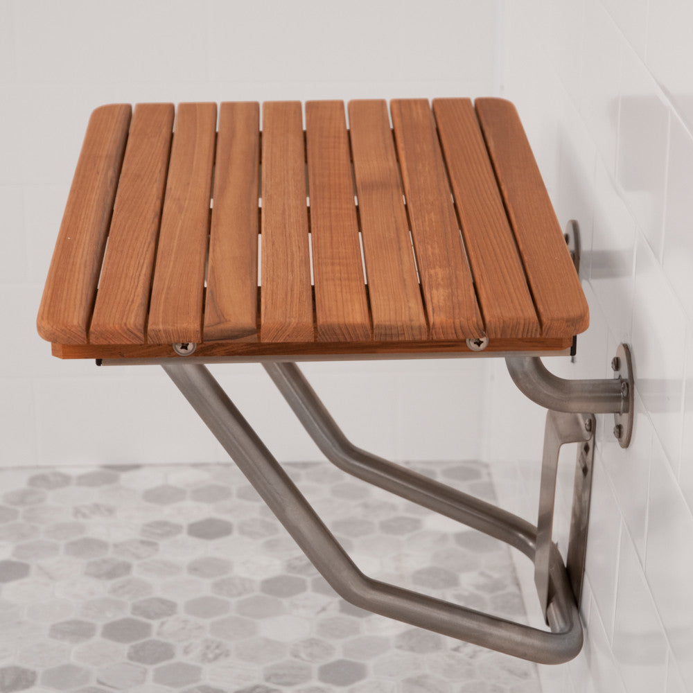 "26"" Teak ADA Shower Bench Folds Up for Easy Access"