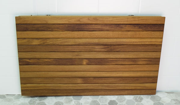 "36""W x 16.5""D Heavy Duty Wall Mount Fold Down Teak Shower Seat"