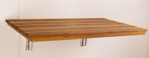 "28""W x 16.5""D Heavy Duty Wall Mount Fold Down Teak Shower Seat"