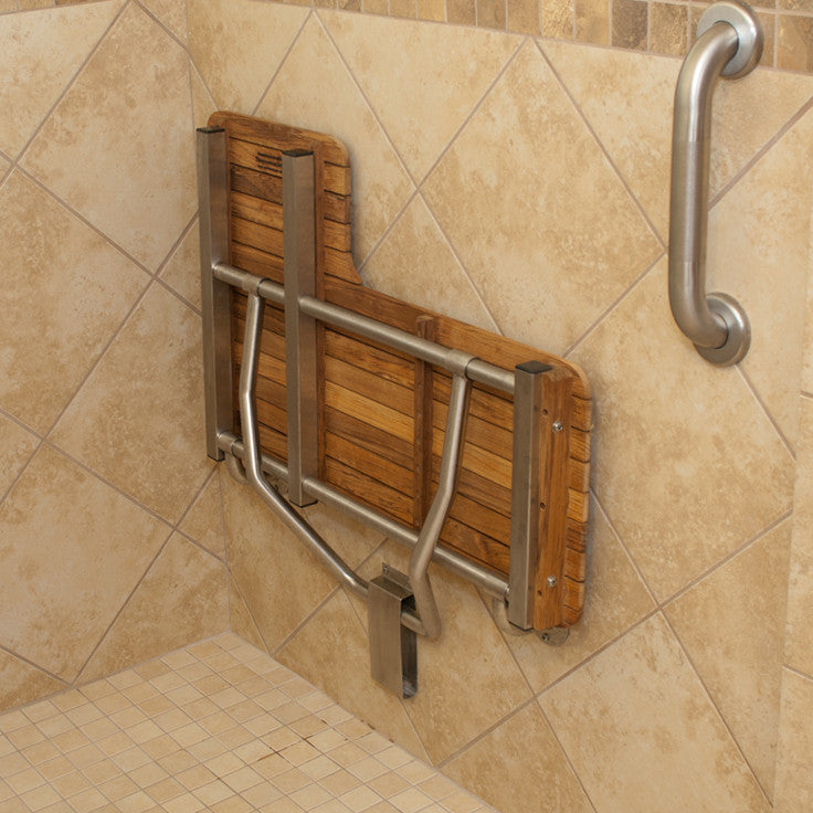 "34"" Right-Hand ADA Compliant Teak Shower Bench Seat Underside View"
