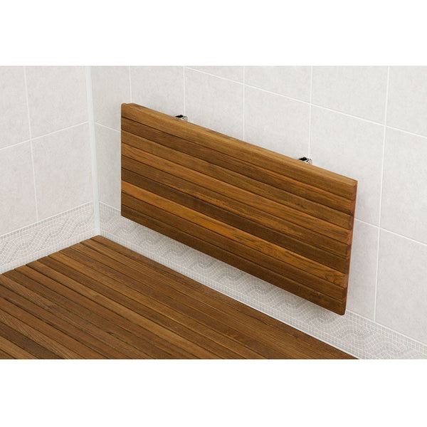 This style of Teak Shower Bench Seat folds down for storage, hiding the hardware