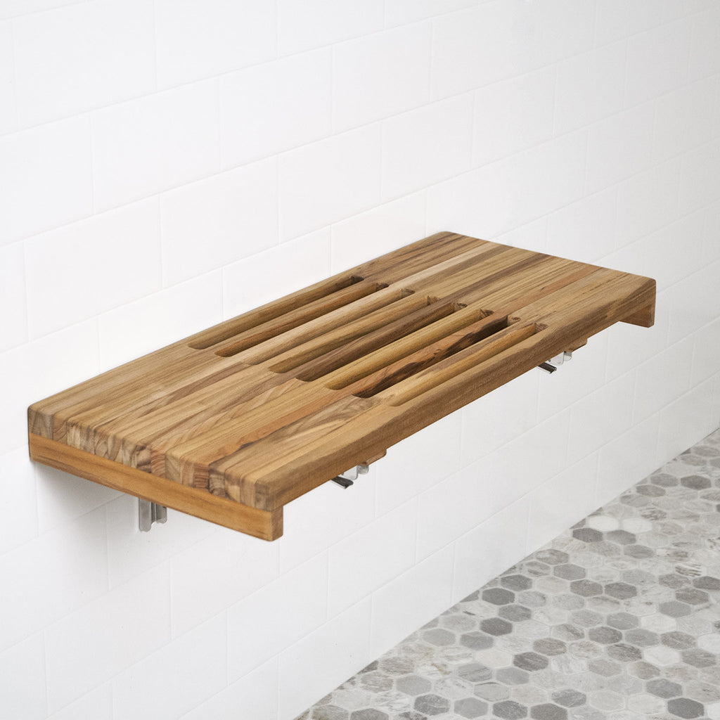 A Beautiful Variation of the Teak Shower Bench Features Slots in the Seat