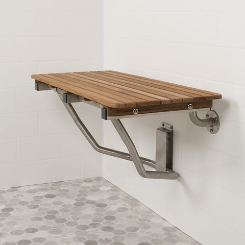 "30"" Wide Teak ADA Wall Mount Shower Seat"