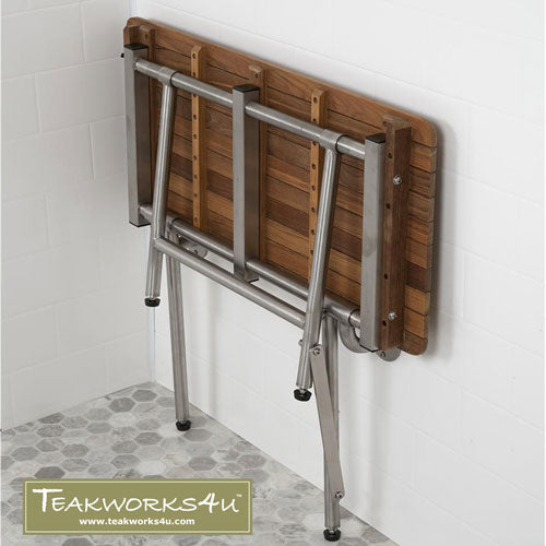"20""W x 16""D Teakworks4u ADA Shower Seat with Drop Down Legs Folds Up Against Wall When Not In Use"