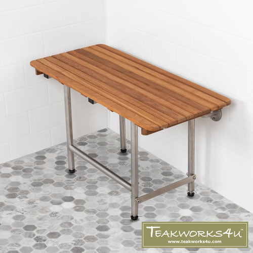 "18""W x 16""D Teakworks4u ADA Shower Seat With Drop Down Legs"