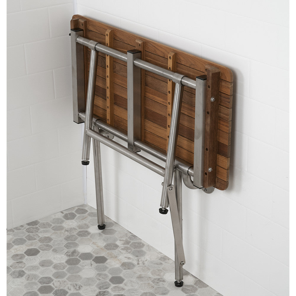 Teak ADA Shower Bench Seat With Drop Down Legs Folds Against the Wall