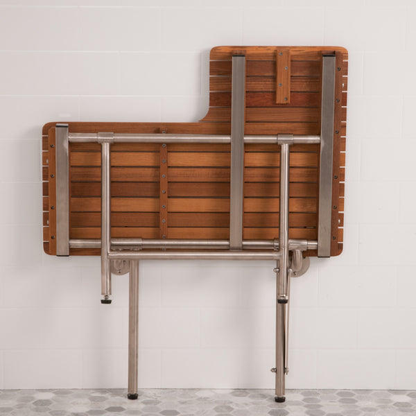 "Hardware View of Left Facing 36"" Wide ADA Compliant Teak Shower Bench with Drop Down Legs"