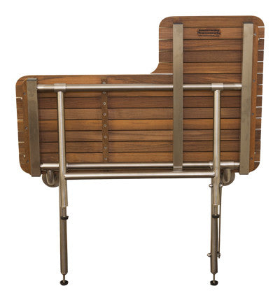 "32"" Wide Teak ADA Left-Hand L-Shaped Shower Seat with Drop Down Legs"