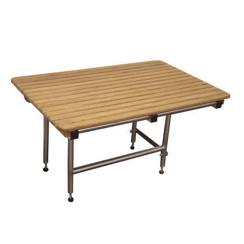 "48"" x 24"" Wide Teak ADA Shower Seat with Drop Down Legs"