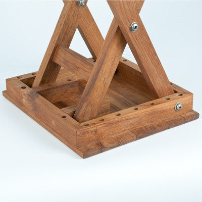 Additional details of scissor leg teak shower bench